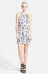 Astr High Neck Shift Dress Ivory Black Floral