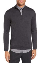 Pal Zileri Men's Quarter Zip Wool Sweater Grey Rust