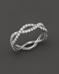 Roberto Coin 18K White Gold And Diamond Braided Ring