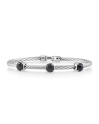 Alor Gray Stainless Steel And Three Onyx Bangle Women's