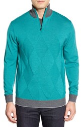 Men's Bugatchi Quarter Zip Wool Sweater Turquoise
