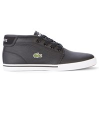 Lacoste Black Ampthill Mid Leather Sneakers With White Sole