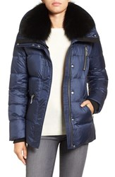 Andrew Marc New York Women's 'Chloe' Down Coat With Genuine Fox Fur Trim Navy