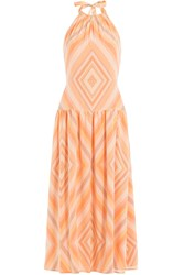 Valentino Printed Silk Dress Orange