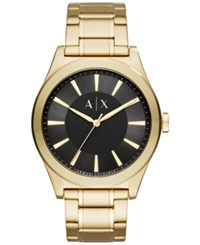 Armani Exchange Ax Men's Nico Gold Tone Stainless Steel Bracelet Watch 44Mm Ax2328 Black