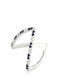 Yvonne Leon Paris White Diamonds And Blue Sapphire Ring