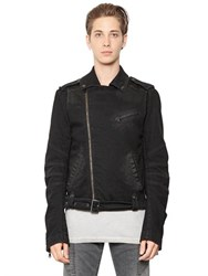 Balmain Stretch Cotton Denim Moto Jacket