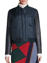 Tory Burch Marly Leather Sleeve Bomber Jacket English Green