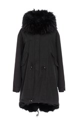 Mr And Mrs Italy Long Canvas Parka With Fox Fur Lining Black