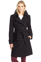London Fog Faux Shearling Collar Long Belted Wool Blend Trench Coat Black