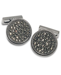Kenneth Cole New York Cufflinks Brushed Gunmetal Crystal Cuff Links