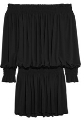 Norma Kamali Off The Shoulder Ruched Stretch Jersey Mini Dress Black