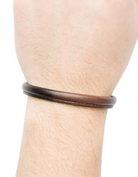 Hook Albert Leather Bangle Bracelet Brown