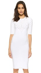 Cushnie Et Ochs Perforated V Neck Dress White