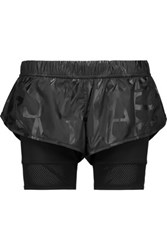 Adidas By Stella Mccartney Mesh Trimmed Shell And Stretch Jersey Shorts Black