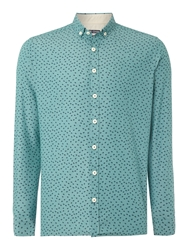 Duck And Cover Wilfred Print Slim Fit Button Down Shirt Light Green