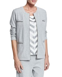 Joan Vass Four Pocket Interlock Jacket Women's Grey Heather