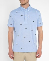 Polo Ralph Lauren Sky Blue Embroidered Button Down Polo Shirt