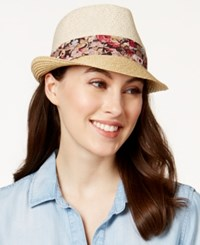 Nine West Floral Print Band Packable Fedora Sand