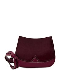 Brian Atwood Akyler Crossbody Leather Saddle Bag Dark Red