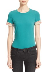 Women's Burberry Brit Check Trim Tee Aqua Green
