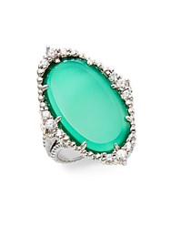 Judith Ripka Sophia White Sapphire Green Chalcedony And Sterling Silver Oval Ring Silver Green