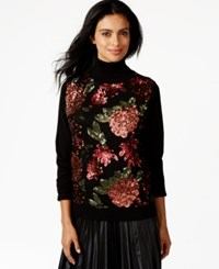 Joseph A Sequined Floral Turtleneck Sweater Floral Sequins