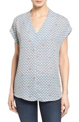 Pleione Women's High Low V Neck Mixed Media Top Sandshell Navy Dodger Blue