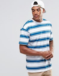 New Look Striped T Shirt In Turquoise Blue Stripe