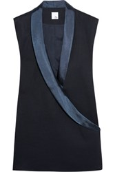 Iris And Ink Gloria Satin Trimmed Wrap Effect Pique Top Navy