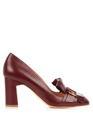 Rupert Sanderson Glen Lee Fringed Leather Moccasin Pumps Burgundy