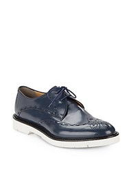 Fendi Contrast Sole Wingtip Derby Shoes Blue
