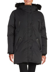 Elie Tahari Fox Fur And Shearling Parka Black