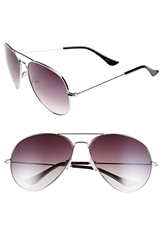 Icon Eyewear 'Carston' 60Mm Aviator Sunglasses Silver Smoke