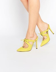 Asos Play To Win Pointed Heeled Mules Yellow