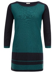Planet Block Knit Tunic Multi Blue