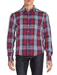 Joe's Jeans Relaxed Fit Plaid Cotton Sportshirt Red Navy
