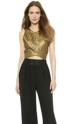 Torn By Ronny Kobo Anina Crop Top Gold