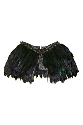 Topshop Feather Fringe Cape Black
