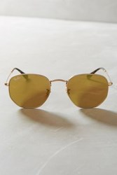Anthropologie Ray Ban Hexagonal Flat Sunglasses Gold
