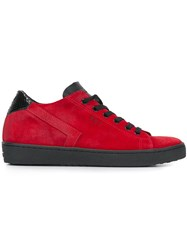 Leather Crown 'Skt' Detail Sneakers Red