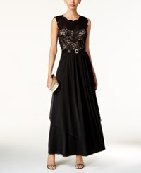 R And M Richards Petite Sequined Lace Chiffon Gown Black