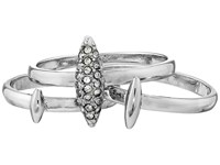 French Connection Spike Midi Set Ring Rhodium Clear Stone Ring Silver
