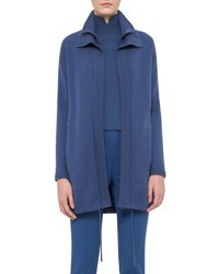 Akris Double Collar Cashmere Zip Front Cardigan Coat Blue Jay Bluejay