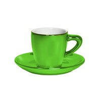 Bialetti Patent Cup And Saucer Twin Pack Shiny Green