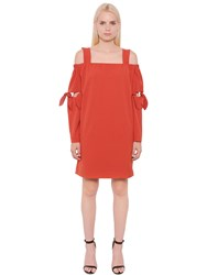 Designers Remix Open Shoulder Crepe Dress With Ties
