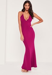 Missguided Cross Back Plunge Fishtail Maxi Dress Pink Raspberry