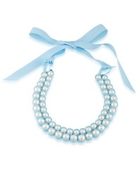 1St And Gorgeous Faux Pearl Bib Necklace White Pearl And Sky Blue