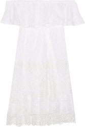 Anjuna Maria Off The Shoulder Crochet Paneled Cotton Gauze Mini Dress White