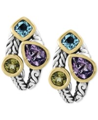 Effy Balissima By Multi Gemstone Deco Style Stud Earrings 5 1 10 Ct. T.W. In Sterling Silver And 18K Gold